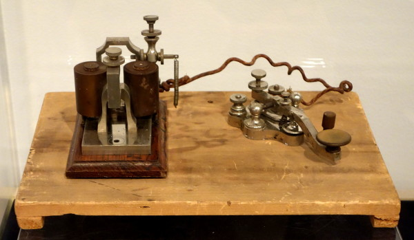A telegraph key and sounder