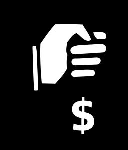Hand taking money bag