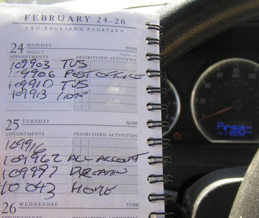 Hand written Mileage Log Book